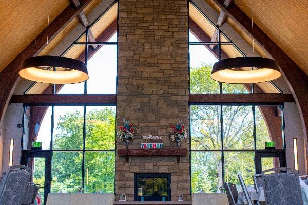 Nature park event center interior fireplace