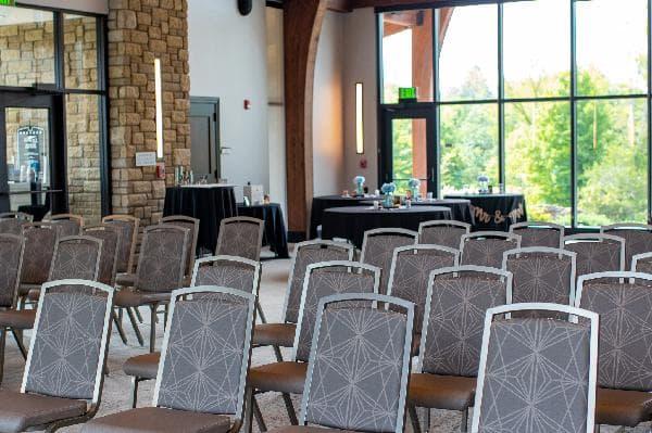 Nature park event center interior set up for a wedding