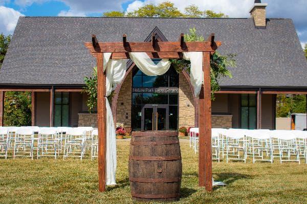 Nature park event center outdoor wedding setup